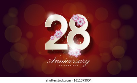 28th anniversary background with an illustration of a white figure with a light blur on a dark red background.