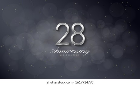 28th anniversary background with illustrations of 3d silver figures on a black background.