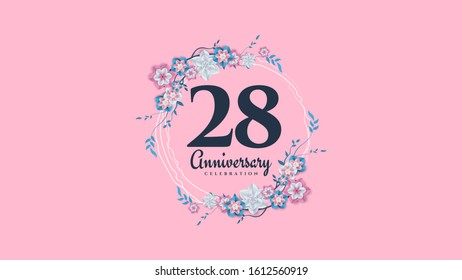 28th anniversary background with illustrations of flowers and leaves surrounding the numbers.