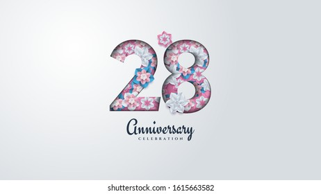 28th anniversary background with illustrations of flowers forming numbers.