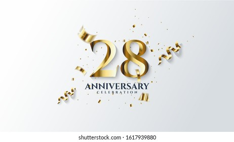 28th anniversary background. with illustrations of gold colored figures and pieces of gold paper on a white background.