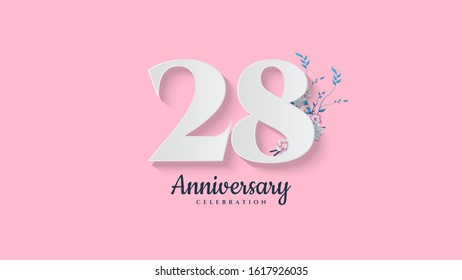28th anniversary background. with illustrations of numbers with flowers below it.