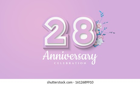 28th anniversary background with illustrations of paper cut figures with soft colors.