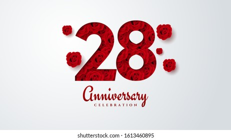 28th anniversary background with illustrations of red paper cut roses in numbers.