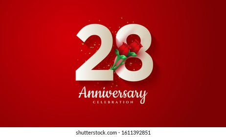 28th anniversary background with illustrations of white numbers and 3d red roses on a red background.