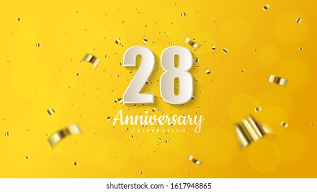 28th anniversary background with illustrations of white numbers and pieces of gold paper on a soft yellow background.