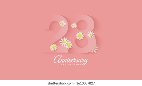 28th anniversary background with pink paper cut illustrations with flowers around.