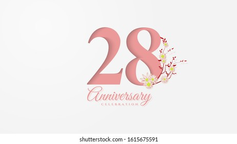 28th anniversary background with pink paper cut figures with flowers next to it.