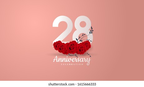 28th anniversary background with white numbers and red roses underneath.