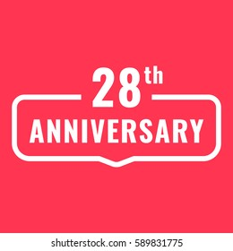 28th anniversary. Badge icon, logo. Flat vector illustration on red background. Can be used for birthday, wedding or company event.