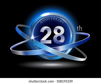 28th anniversary with blue ring graphic elements on black background