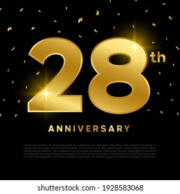 28th anniversary celebration with gold glitter color and black background. Vector design for celebrations, invitation cards and greeting cards.