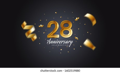 28th anniversary celebration Gold numbers with dotted halftone, shadow and sparkling confetti. modern elegant design with black background. for wedding party event decoration. Editable vector EPS 10