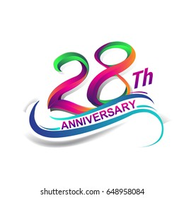 28th anniversary celebration logotype green and red colored. twenty eight years birthday logo on white background.