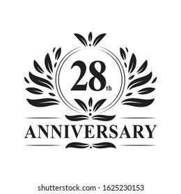 28th Anniversary celebration, luxurious 28 years Anniversary logo design.