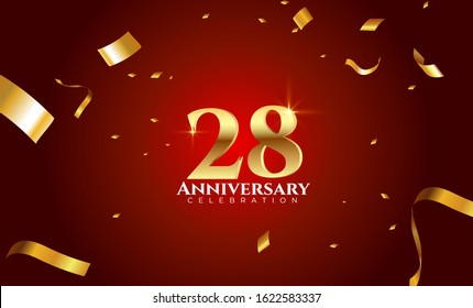 28th Anniversary celebration Vector background by using two colors in the design between gold and red, Golden number 28 with sparkling confetti Realistic 3d sign. Birthday or wedding party