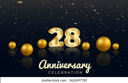 28th Anniversary celebration Vector background by using two colors in the design between gold and red, Golden number 28 with Realistic 3d sign & gold Sphere for Birthday or wedding party
