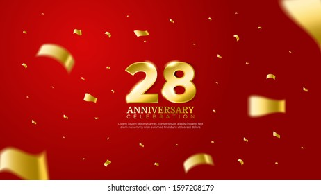 28th anniversary celebration vector red background. Golden numbers with shadow and sparkling confetti modern and elegant design for wedding party event decoration. Editable vector EPS 10