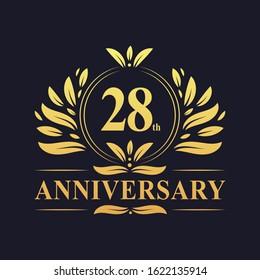 28th Anniversary Design, luxurious golden color 28 years Anniversary logo design celebration.