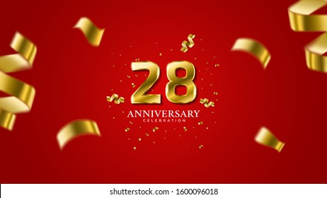 28th anniversary . Gold Numbers with shadow and sparkling confetti. Modern elegant gradient red background design vector EPS 10. For wedding party or company event decoration.