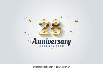28th anniversary with golden numbers on a white background.