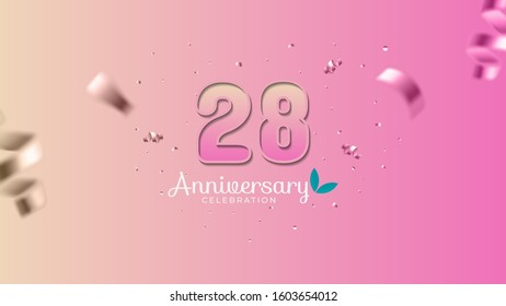28th anniversary. Gradient pink and yellow Numbers with sparkling confetti. Modern elegant gradient background design vector EPS 10. For wedding party or company event decoration.