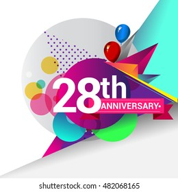 28th Anniversary logo, Colorful geometric background vector design template elements for your birthday celebration.