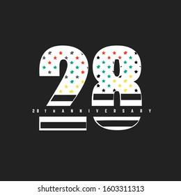 28th Anniversary logo design template