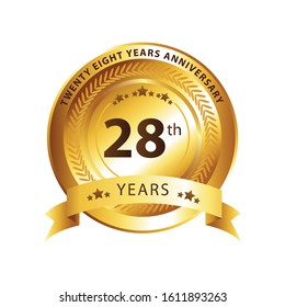 28th anniversary logo with gold ribbon with white background