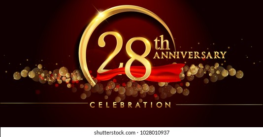 28th anniversary logo with golden ring, confetti and red ribbon isolated on elegant black background, sparkle, vector design for greeting card and invitation card
