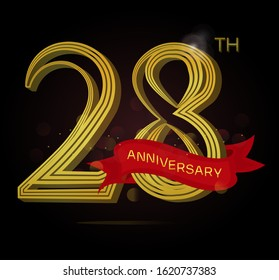 28th anniversary logo with Line motif and red ribbon isolated on elegant black background, vector design for celebration purpose
