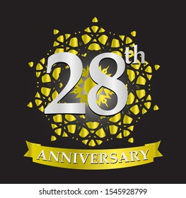 28th anniversary logo with silver and gold ribbon. Vector design template elements for your birthday celebration.