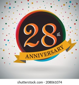 28th Anniversary poster / template design in retro style - Vector Background