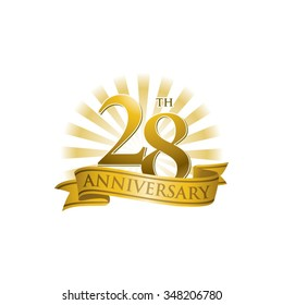 28th anniversary ribbon logo with golden rays of light