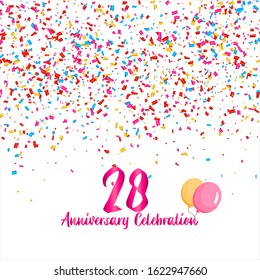 28th anniversary vector background, white background with three colors ornament and pink font, editable vector eps 10