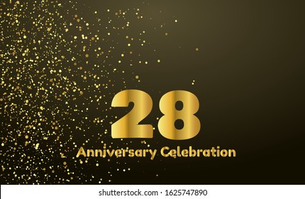28th Anniversary vector party background with gold glitter and gold font, editable illustration eps 10