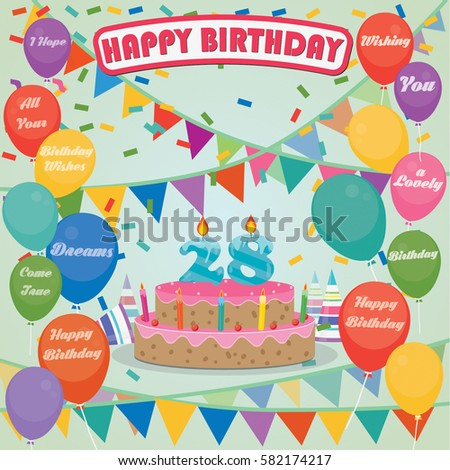 28th Birthday Cake And Decoration Background In Flat Design With Balloons Candles