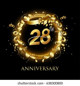 28th gold anniversary celebration With confetti, ring, and abstract elements, isolated on dark background