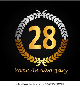28th gold anniversary celebration logo with golden color and laurel wreath vector design