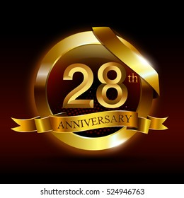 28th golden anniversary logo with ring and ribbon, on black background vector design.
