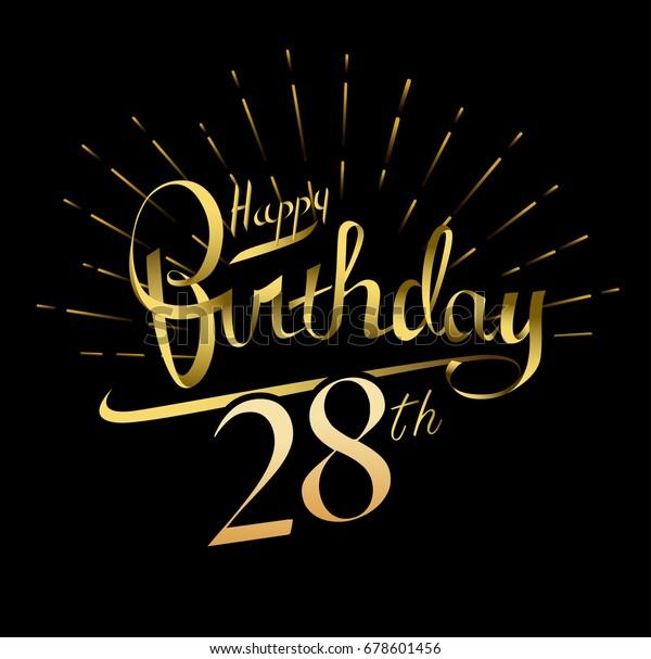 28th Happy Birthday Logo Beautiful Greeting Stock Vector