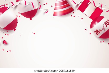 28th of July. Peru independence day celebration background with balloons, flag and confetti. Festive border flat lay. Vector illustration