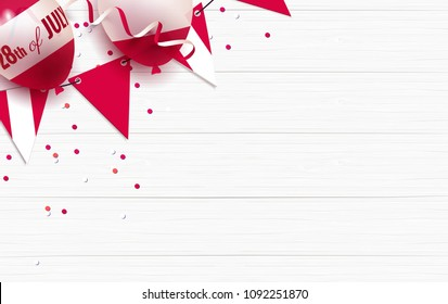 28th of July. Peru independence day celebration background with balloons, bunting flags and confetti. Festive border flat lay. Vector illustration