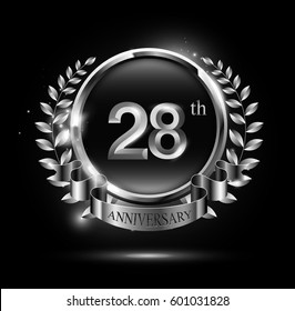 28th silver anniversary celebration logo with ring and ribbon, laurel wreath design
