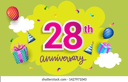 28th Years Anniversary Celebration Design, with gift box and balloons, ribbon, Colorful Vector template elements for your birthday celebrating party.