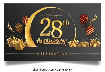 28th years anniversary design for greeting cards and invitation, with balloon, confetti and gift box, elegant design with gold and dark color, design template for birthday celebration.