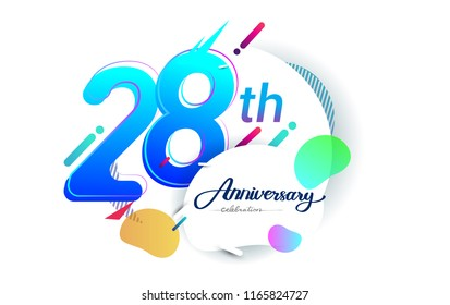 28th years anniversary logo, vector design birthday celebration with colorful geometric background, isolated on white background.