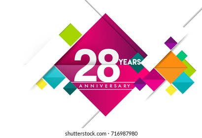 28th years anniversary logo, vector design birthday celebration with colorful geometric isolated on white background.