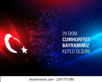 29 ekim cumhuriyet bayrami celebration Atatürk, Mustafa Kemal Ataturk with Turkish Flag with red and blue background