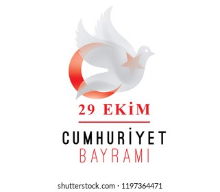 29 ekim Cumhuriyet Bayrami kutlu olsun. Translation: 29 october, republic day of Turkey. Typography vector design